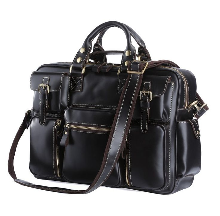 "Leather Laptop Bag 16,5"" Black via Vintage Leather Bags. Click on the image to see more!"