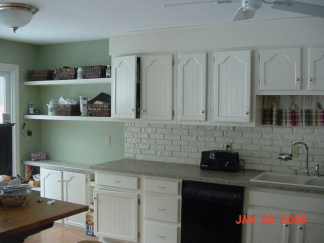 Kitchen Cabinets/faux brick painted