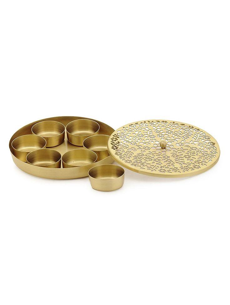 Buy Golden Floral Mughal Jali Brass Spice Box with Bowl (Set of 8) Kitchen Kitchenware Online at Jaypore.com