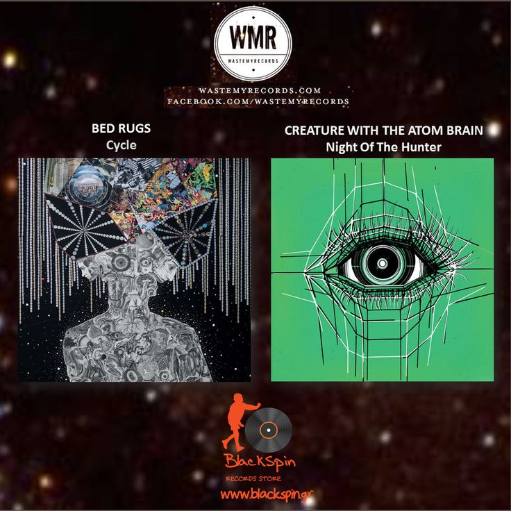 Just came in two exceptional vinyl releases from a great label Waste My Records - Creature With The Atom Brain - Night of the Hunter (http://www.blackspin.gr/…/2343-creature-with-the-atom-brain…) - Bed Rugs - Cycle (http://www.blackspin.gr/lp/2342-bed-rugs-cycle.html) Of the best releases for 2015! Don't miss them!