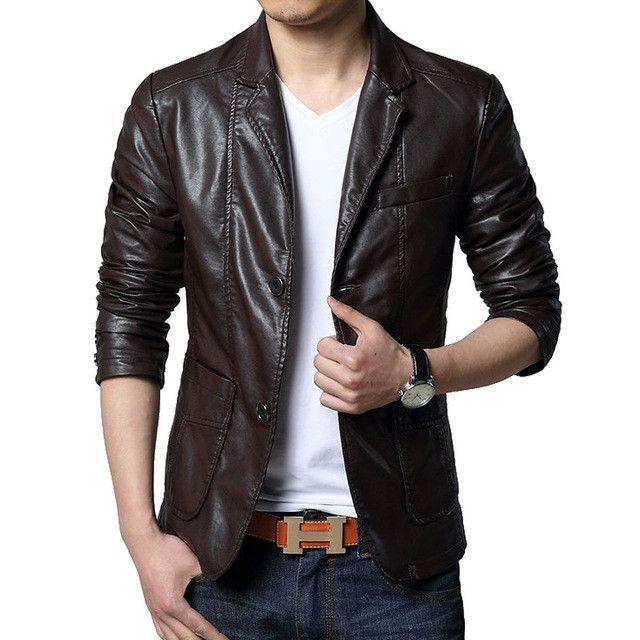 Spring & Autumn Men's Leather suits men fashion suit casual slim fit Leather Blazers