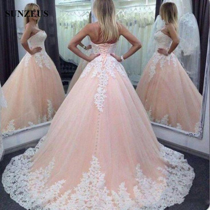 Weg-von-der-Schulter-Geschwollene-Ballkleid-Hochzeitskleider-Schatz-Spitze-Appliques-Tulle-Brautkleid-Bruidsjurk-Licht-Rosa-Vestidos.jpg (800×800)