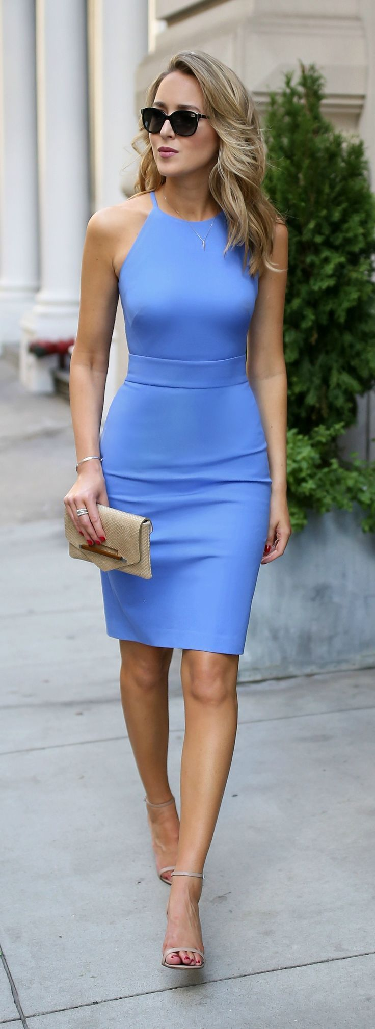 3 Day-To-Night Dresses You Need // Periwinkle blue classic sleeveless sheath dress, cinched waist + gold clutch, nude strappy sandals, wavy hairstyle, fashion blogger {Banana Republic}