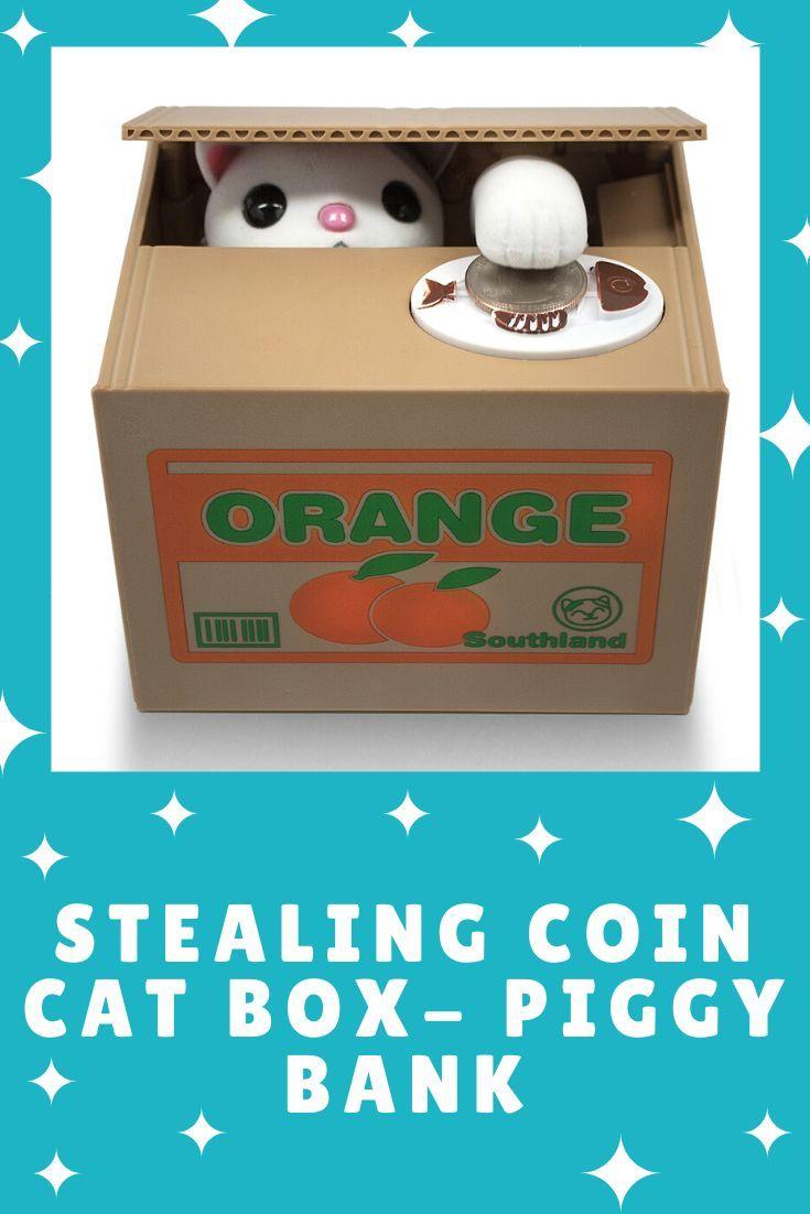 Matney Stealing Coin Cat Box Piggy Bank White Kitty English Speaking In 2020 Cat Box Piggy Bank Piggy