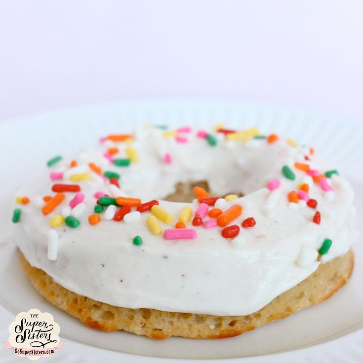 Vanilla Cake Protein Donuts [85 calories, 60 cals without frosting, 6 g carbs, 10 g protein] via Go Super Sisters