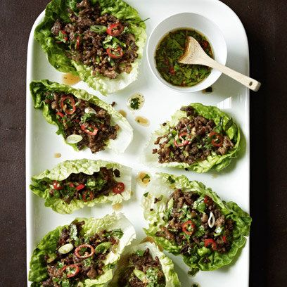 Just saw Gordon Ramsay cook this on BBC Lifestyle Chilli Beef Lettuce Wraps: Recipes this would make a great Pepper stuffing i bet