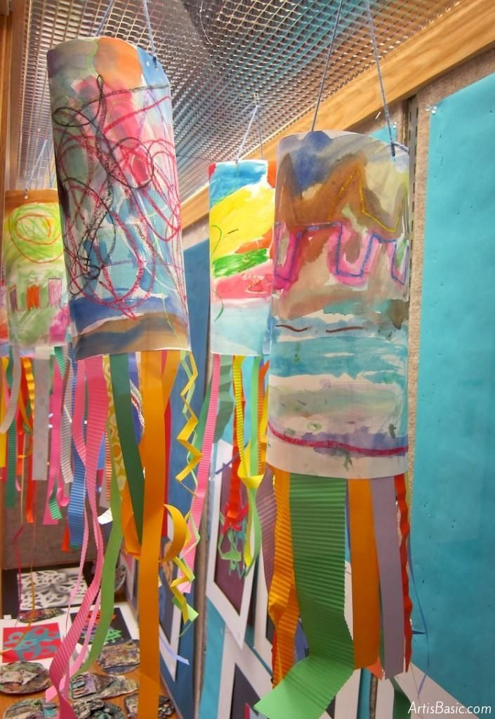 Kindergarten Line Windsock. Watercolor Resist painting, streamer lines