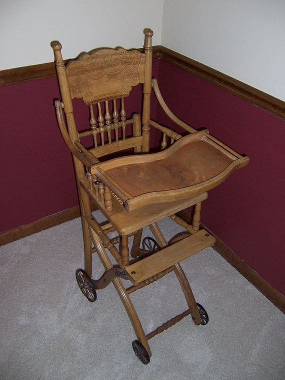 I have two of these, one with wheels and one without. Antique high chair