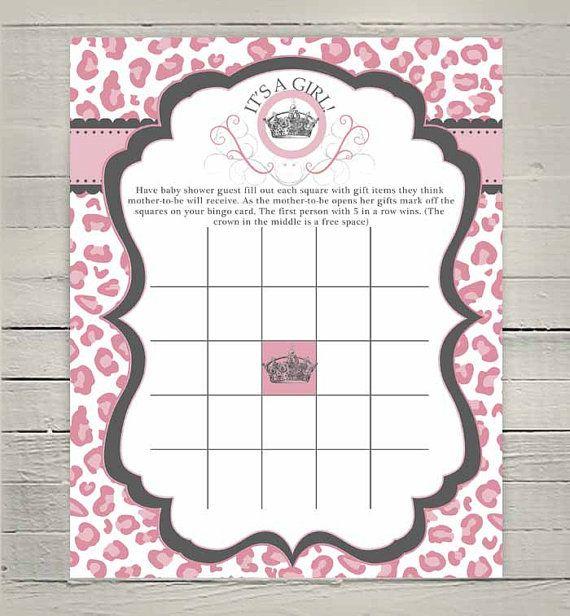 Printable Baby Girl Shower Bingo Game, Baby Bingo Game, Pink Cheetah Leopard Baby Shower, Diva Crown Tiara supplies, party games