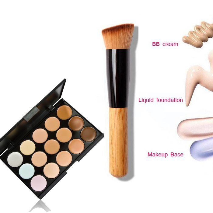15 cores de sombra de maquiagem contorno corretivo Facial Primer Base + fundação kabuki escova contorno pó para maquiagem alishoppbrasil