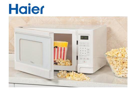 Haier 1.1 Cubic Foot 1000-Watt Microwave - White #PlugsterPinToWin
