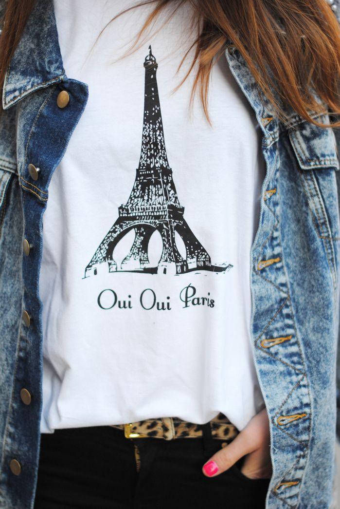 """Cute Paris """"T""""  Will work as in pic also with cute blazer, leather shorts and booties."""