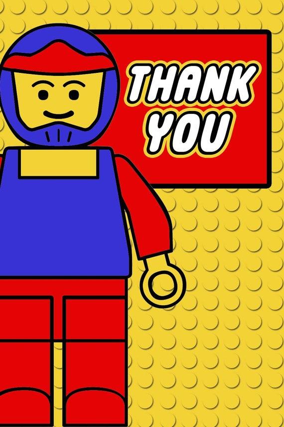lego party thank you postcard 4x6 PRINTABLE by tinyshopofrandoms