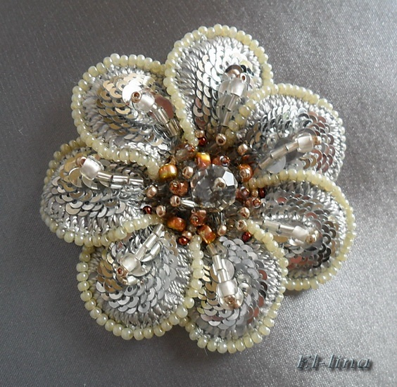 Central piece of the flower (embroidery for a prom dress) by Elena Emelina