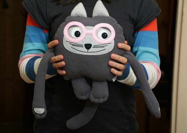 via en.dawanda.com Toy Animals & Monster Toys – Plush toy cat in glasses – a unique product by ecotule on DaWanda