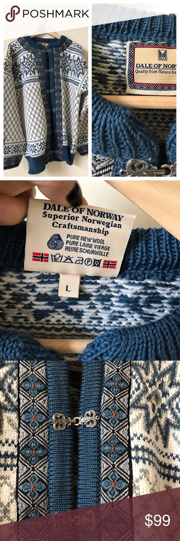NWOT Dale of Norway Wool Sweater Dale of Norway superior Norwegian wool sweater. GORGEOUS craftsmanship. Pure New Wool. Blue sweater with beautiful print. Brand new without tags, sweater is a size large. Retails for over $400! Dale of Norway Sweaters