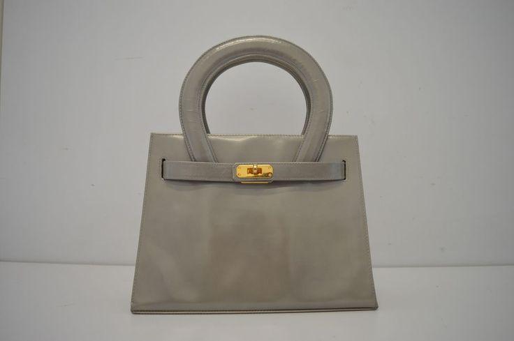 Borsa handbag Dino Sellier Venezia grigio chiaro vernice spazzolata