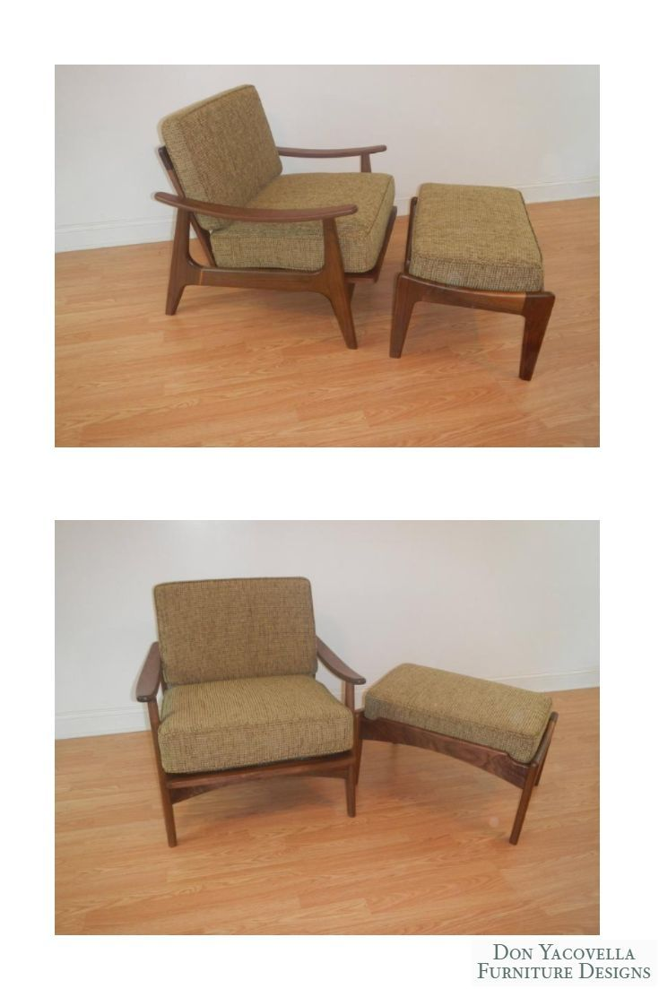 Mid Century Modern Style Lounge Chair With Ottoman Accent Chair