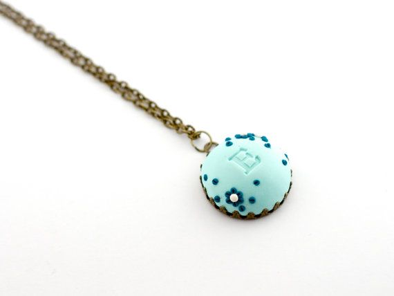 Personalized necklace - mint monogram pendant - polymer clay colorful flower pendant