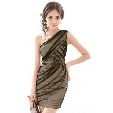 USD11.49Sexy Pleated One Shoulder Apricot Satin Sheath Mini Dress