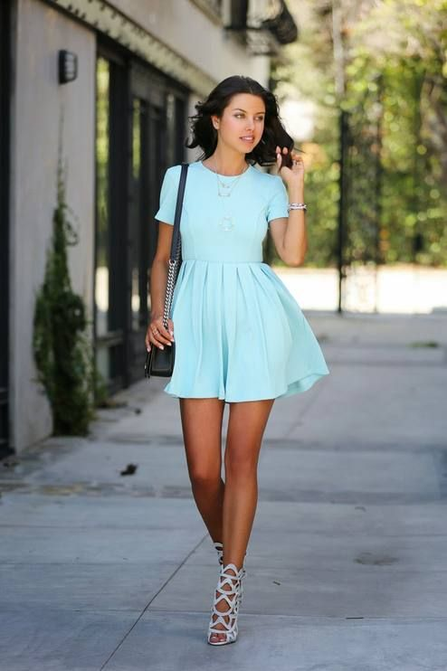 Opening Ceremony Blue Mint Pleat Flared Skirt Dress