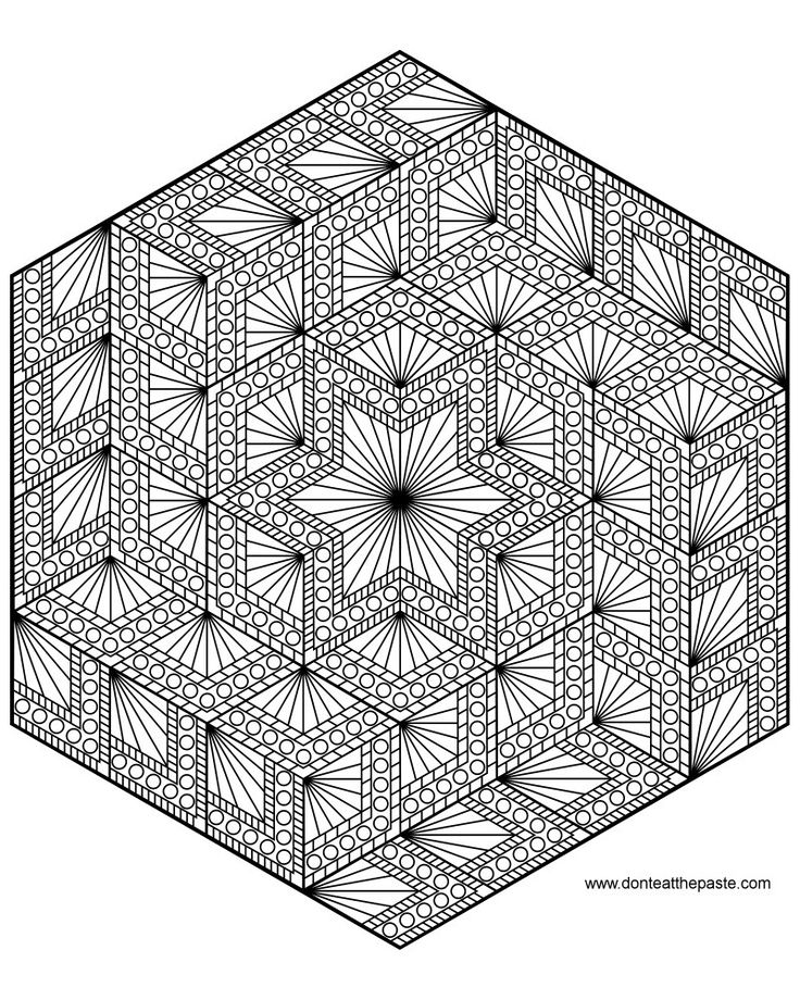 Diamond Hexagon Geometric Mandala Coloring Page By Shala Kerrigan
