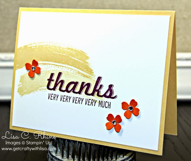 Get Crafty with Lisa:  Thanks Very Much.  This Thanks Very Much Card features Stampin' Up!'s Fabulous Four and Work of Art stamp sets and the Itty Bitty Accent Punch Pack, by Lisa Rhine, www.getcraftywithlisa.com