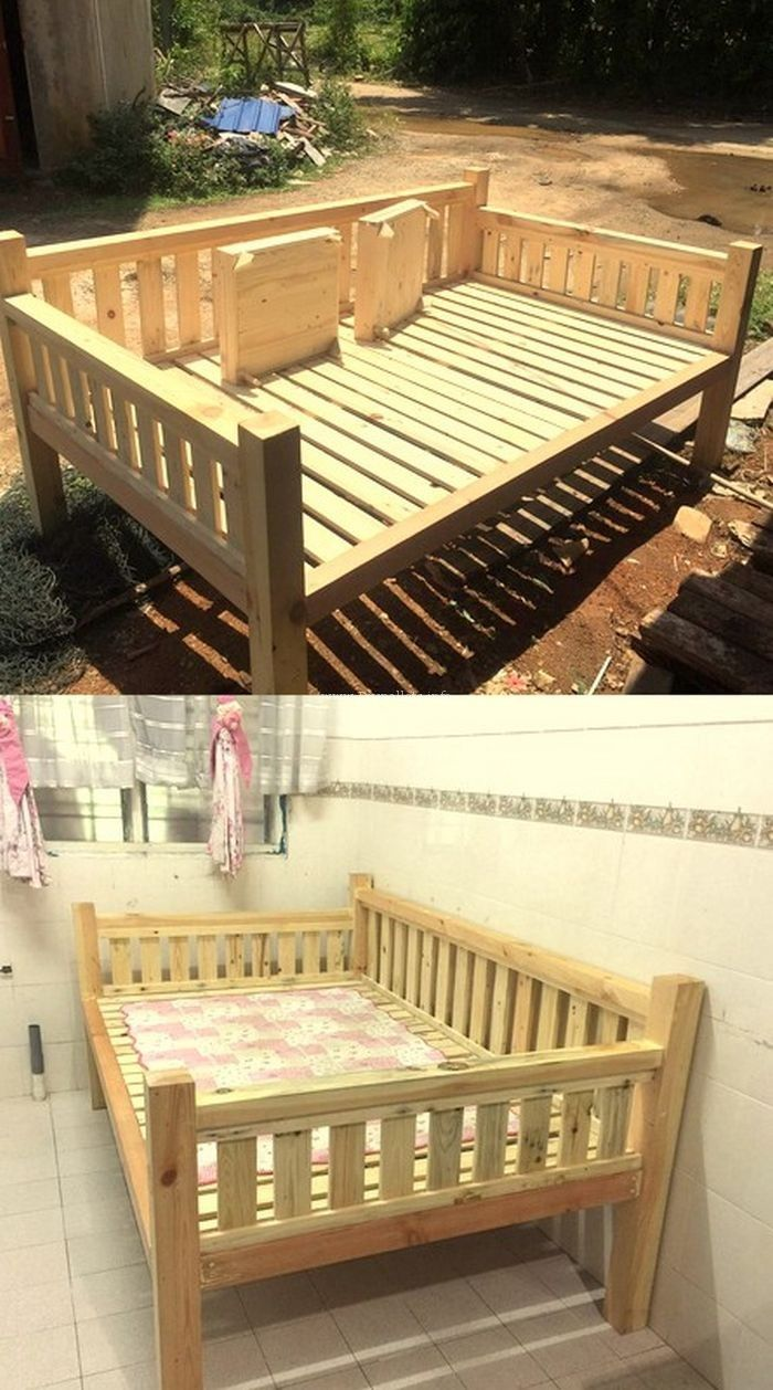 Very Beautiful Wooden Pallet Bed Project Outdoor Ideas