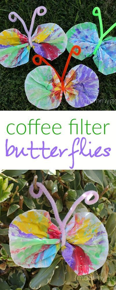 Spring crafts for kids - make these coffee filter butterflies with watercolor paints and pipe cleaners! These are so cute.