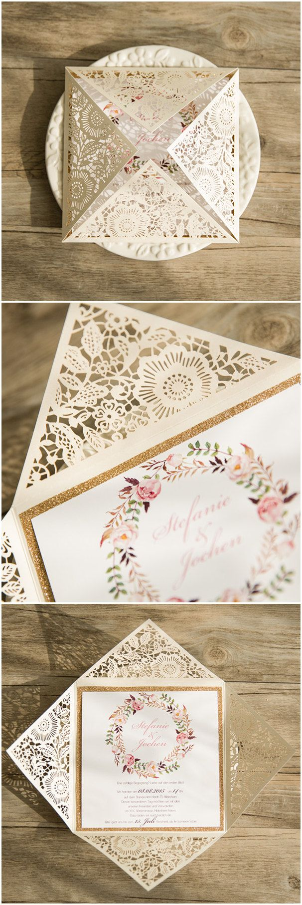 chic floral laser cut wedding invitations with a touch of sparkle for boho themed wedding ideas