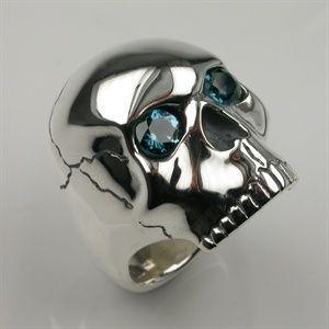 Skull Ring in Sterling Silver & Blue Topaz - Mens and Womens Rings - Designer Jewellery by Stephen Einhorn London
