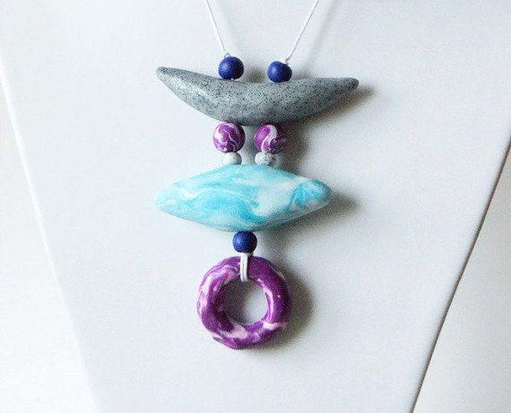 Purple-mint-grey polymer clay pendant geometric by InviolaJewerly