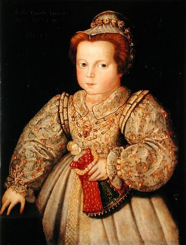 A portrait of a child, likely Arbella Stuart. Arbella was Bess, Countess of Shrewsbury's grandchild and ward. Bess hoped that Queen Elizabeth I would name her Stuart/Tudor relation Arbella as her successor.