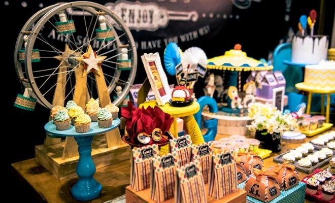 A festa Parque de Diversões contou com um décor vintage LINDO! Muitas brincadeiras e itens personalizados foram os grandes destaques.