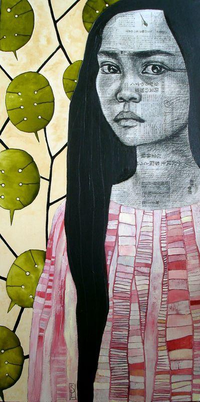 sur cette toile nous y retrouvons une jeune fille, qui porte une tunique rose, sur sa tunique il y a de rectangles de différente grosseur. le visage de la petite fille est fabriquer a la base d'un papier journal. Quand je regarde cette œuvre je ressent un peut de tristesse. Je ressent de la tristesse car la jeune fille n'a pas l'aire heureuse. j'ai l'impression que cette œuvre est vietnamiennes car les écriteaux dans son visage sont d'une écriture asiatique.
