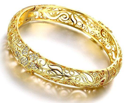 brazalete chapado en oro amarillo de quilates diseo de flor y filigrana joyera