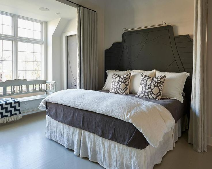 Dark Gray Plank Headboard with White and Gray Bedding and Schumacher Chenonceau Pillows - Transitional - Bedroom
