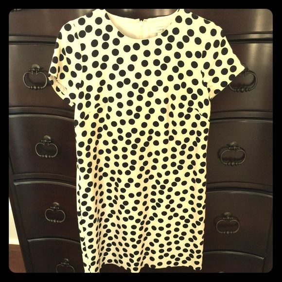 J Crew Dress J Crew cream with black dots dress! Capped sleeves. Fully lined. Woven cream pattern with black polka dots. Very cute dress.  Worn once! EUC. J. Crew Dresses Midi
