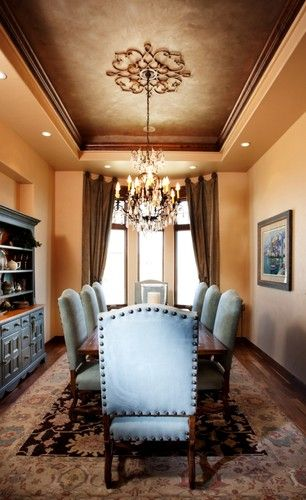 Tray Ceiling Design & medallion only in the dark brown and ivory paint scheme colors..overall darker similar to this.