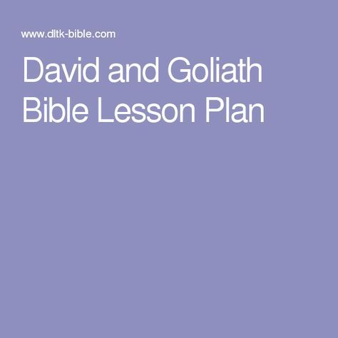 David and Goliath Bible Lesson Plan