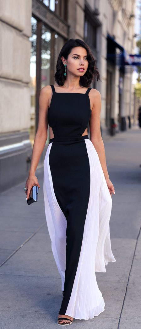 black and white cut out gown