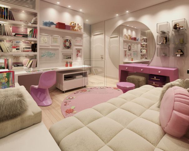 Bedroom Design, Tenage Girl Bedroom By Darkdow Devil With Excellent Grey Pink Cheme Room Decorating Ideas Comfortable Sofa Bed And Rounded C...