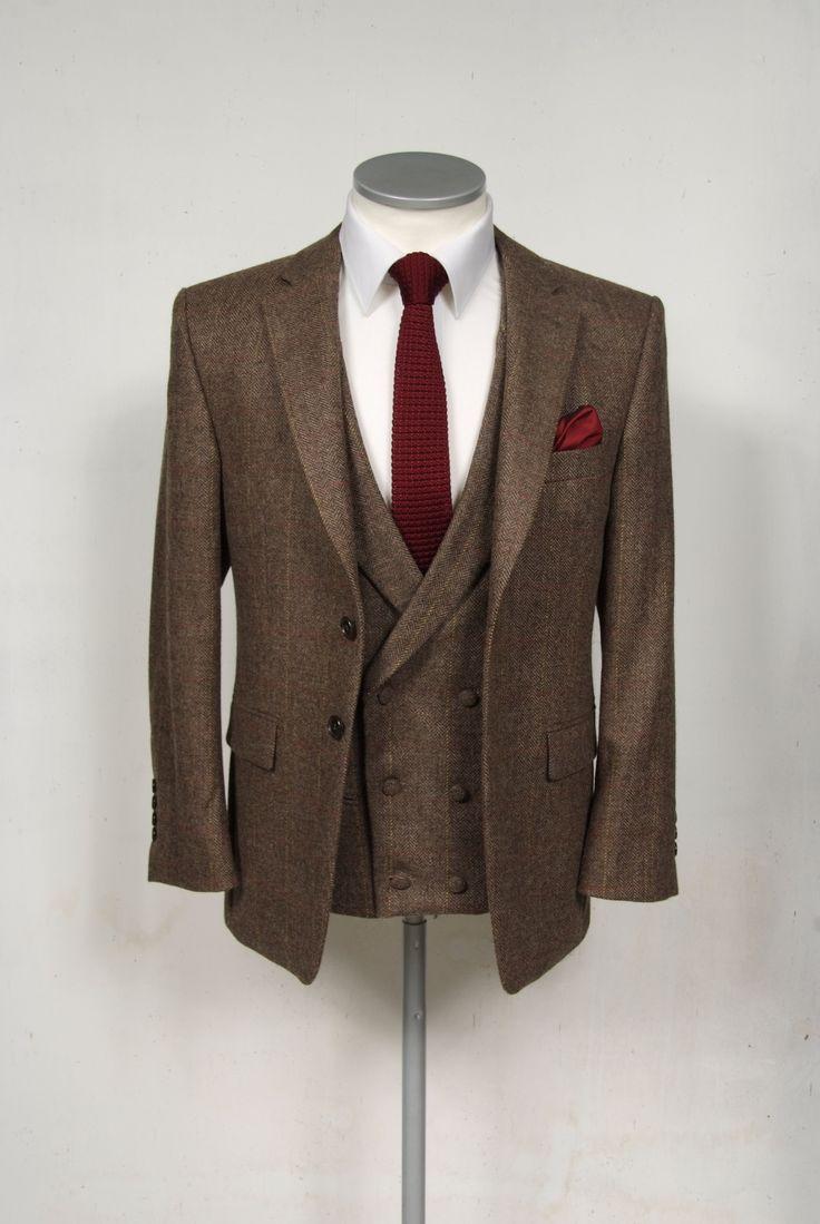 Vintage brown tweed wedding suit hire.