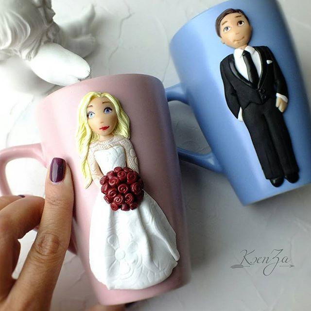 Svatební hrníčky * porcelán, s nevěstou a ženichem z polymeru.