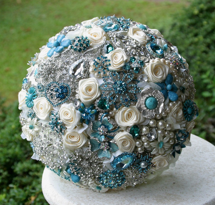 Teal, turquoise and aqua brooch wedding bouquet. Deposit on a made to order bouquet.. $75.00, via Etsy.