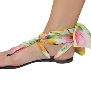 Shutini's Spring In Bloom Strap features a long, patterned strap made out of luxurious chiffon.  On #sale for $9.95. #shoes