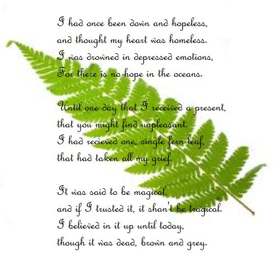 Find the fern within yourself and you shall excel to no end!