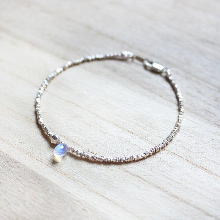 Rainbow Meteor - rainbow moonstone 925 sterling silver bracelet