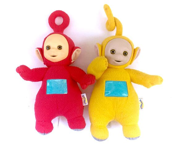 Vintage Teletubbies Po & Laa-Laa Talking Plush Doll Lot! www.CuteVintageToys.com 💖 Hundreds Of  Precious Vintage Toys From The 80s & 90s! Follow Me & Use The Coupon Code PINTEREST For 10% Off Your ENTIRE Order! 💌 Dozens of G1 My Little Ponies, Polly Pockets, Popples, Strawberry Shortcake, Care Bears, Rainbow Brite, Moondreamers, Keypers, Disney, Fisher Price, MOTU, She-Ra Cabbage Patch Kids, Dolls, Blues Clus, Barney, Teletubbies, ET, Barbie, Sanrio, Muppets, Sesame Street, & Fairy Kei…
