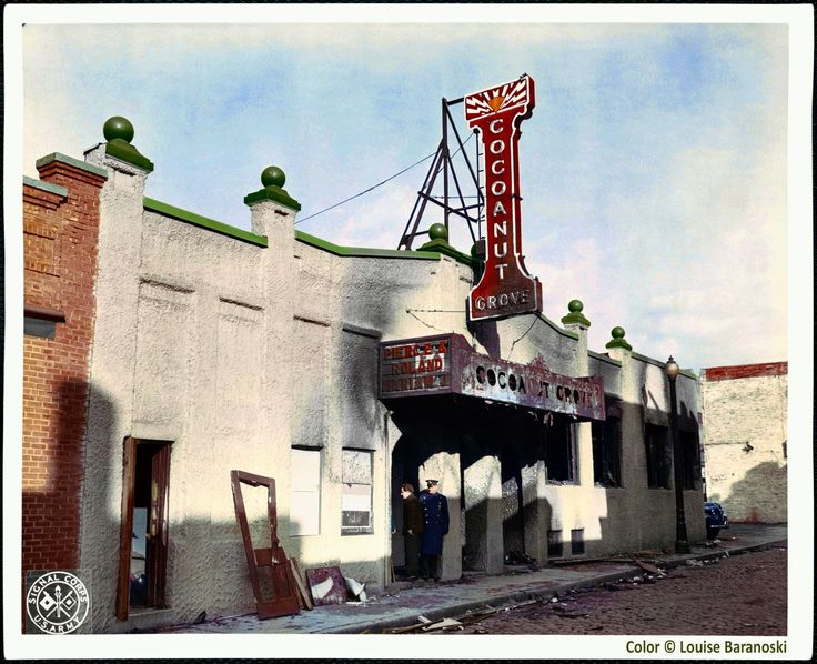 The Cocoanut Grove nightclub in Boston, taken after the fire that killed 492 people on the night of November 28, 1942.  Black & white photo from The Boston Public Library flickr site, colorized by Louise Baranoski.